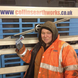 Photo of Fitter from Collins Earth works with a tube of TTP90 instant plastic repair