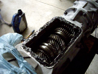 photo of open gearbox with black high temperature Proseal gasket maker by TTP part number PRS300B