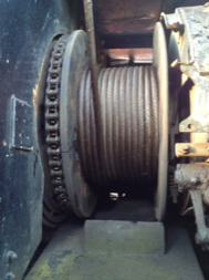 photo of large wire rope spool on static crane after lubrication with TTP OG50 grease