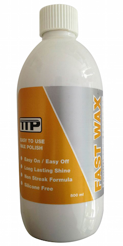Close up of TTP FAST WAX 500ml bottle of vehicle wax polish