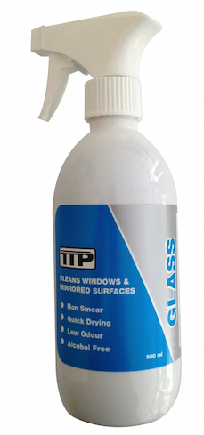 Close up TTP GLASS 500ml bottle of non smear glass cleaner