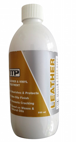 close up of TTP LEATHER 500ml bottle of Leather conditioning cream
