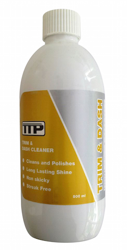 Close up of TTP Trim & Dash 500ml bottle of trim restorer