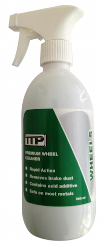 Close up of TTP WHEELS 500ml bottle of alloy wheel cleaner