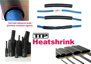 combination of photos of TTP adhesive lined heat shrink
