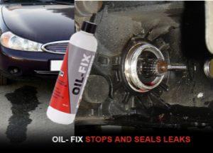 advertisement for TTP Oilfix oil stop leak showing oil leak on car