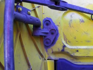 close up of plastic retaining lug on wind deflector of truck after being repaired with TTP90 instant plastic repair