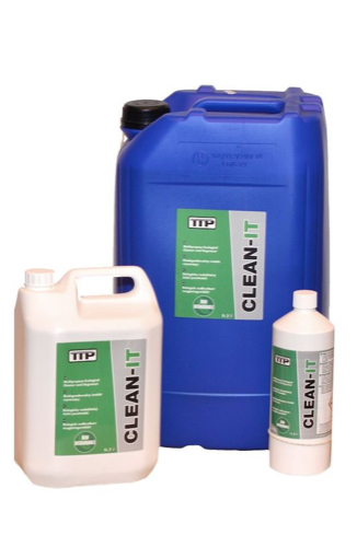Close up photo of TTP 1ltr, 5ltr and 25ltr containers of CLEAN-IT biodegradable cleaners