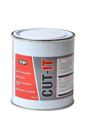 Close up photo of TTP can of CUT-IT 500ml metal lubricant cutting paste part number CUT-IT500