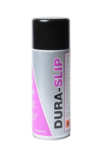 Close up of TTP DURA-SLIP high concentration PTFE lubricant 400ml aerosol part number DSL250