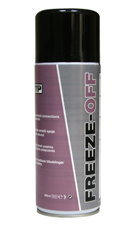 Close up of TTP FREEZE-OFF freeze action release spray 400ml aerosol part number FRZ4008