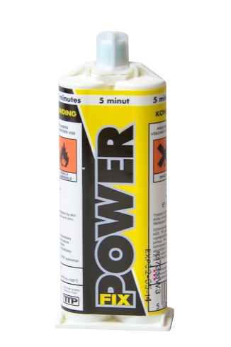 Close up photo of TTP POWER-FIX 50ml 2 pack structural adhesive part number POWERFIX50ML