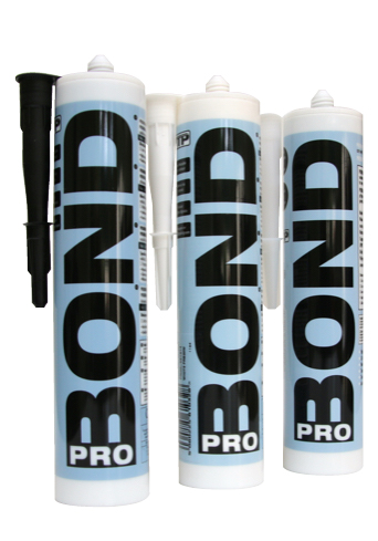 Close up of 3 x TTP PROBOND tubes of bonser and sealer 290ml black, white and clear