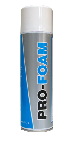 Close up photo of TTP PRO-FOAM 500ml aerosol specialist glass and multi surface foam cleaner part number PROFOAM500ML