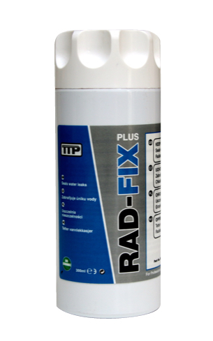 Close up photo of TTP RAD-FIX 250ml non clog radiator stop leak part number RDF0010