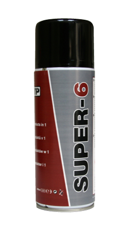 Close up photo of TTP SUPER6 400ml Universal lubricant, penetrant and moisture repellant aerosol part number SUPER6400