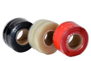 Close up photo of the 3 coloured TTP Silicone repair tapes in red, black and transparent