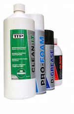 Close up of range of TTP cleaning products