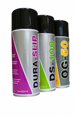 Close up of TTP lubricant aerosols, PTFE, Silicone and grease