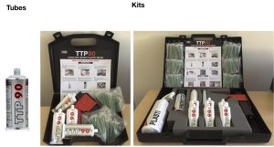 Photo showing TTP90 plastic repair tube and TTP90 plastic repair kits